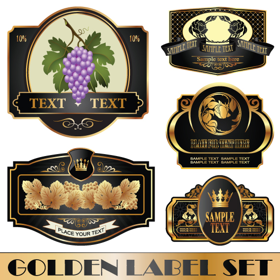 golden bottle of wine labels vector 04 free download. Black Bedroom Furniture Sets. Home Design Ideas