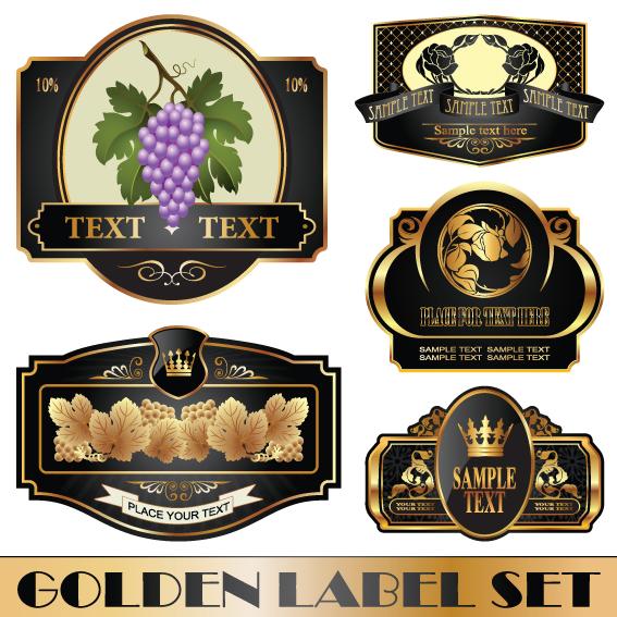 Golden bottle of wine labels vector 04 free download