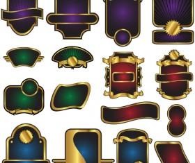 Golden bottle of wine labels vector 05