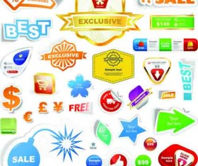 Different supermarket labels and Stickers design vector 01