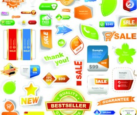 Different supermarket labels and Stickers design vector 02