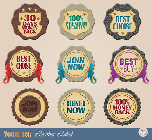 Creative Leather label vector material 02