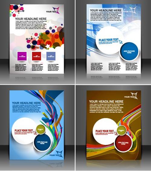 Set of Modern magazine cover design vector 02
