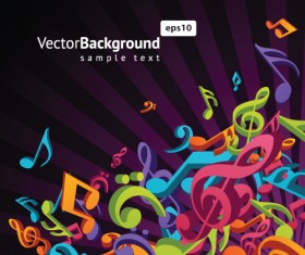 Colorful musical keys backgrounds vector 03