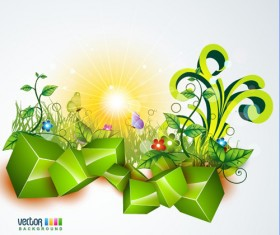 Shiny Nature Background vector graphics 02