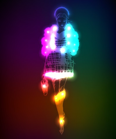 Neon light Girl design vector graphic 02