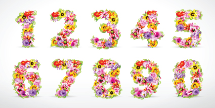 Elements of Colorful Flower Numbers and alphabet vector 01