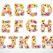 Link toElements of colorful flower numbers and alphabet vector 03