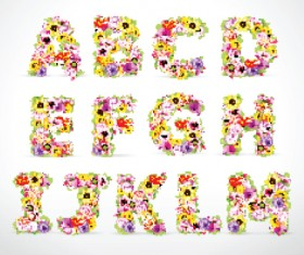Elements of Colorful Flower Numbers and alphabet vector 03