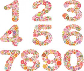 Elements of Colorful Flower Numbers and alphabet vector 05