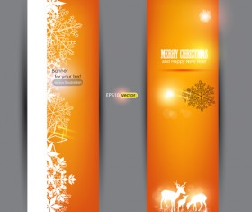 Orange Xmas banner vector 01