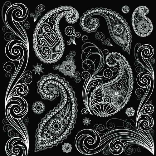 Black And White Paisley Bandana Pattern Set of Black And White Paisley