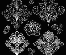 Set of black and white Paisley Pattern vector graphics 02