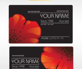 Vivid Poppy flower cards vector 01