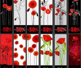 Vivid Poppy flower cards vector 02