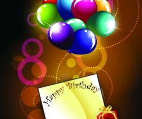Ornate Happy Birthday Postcards design vector set 01