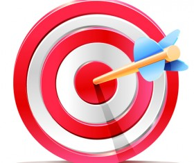 Red Target Aim with Darts elements vector 01