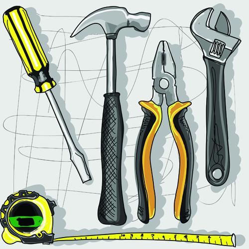 Set Of Different Repair Tools Vector Graphics 01