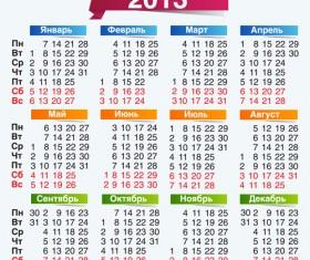 Elements of Russian calendar 2013 design vector 04