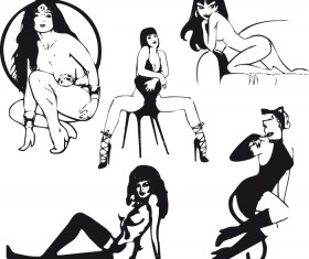 Hand drawn Sexy Women elements vector material 02
