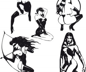 Hand drawn Sexy Women elements vector material 03