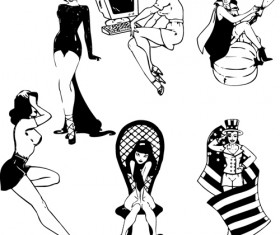 Hand drawn Sexy Women elements vector material 04