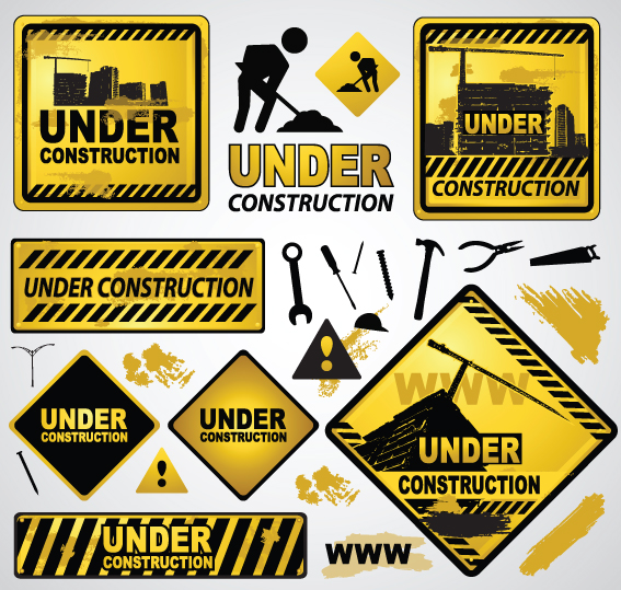 Cartoon Construction Signs Construction of Signs And