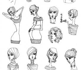 Hand drawn Sketches female design vector 01