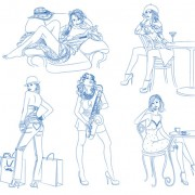 Link toHand drawn sketches female design vector 02