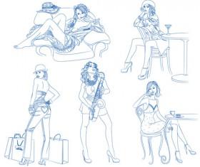 Hand drawn Sketches female design vector 02