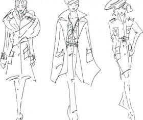 Hand drawn Sketches female design vector 03