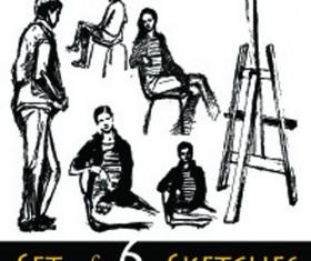 Hand drawn Sketches female design vector 04