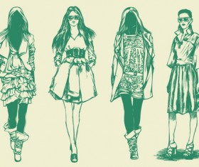 Hand drawn Sketches female design vector 05