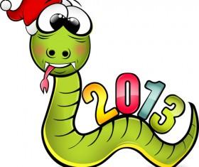 Snake 2013 Christmas design vector graphics 12