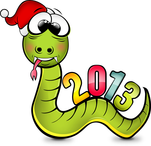 Snake 2013 Christmas design vector graphics 12