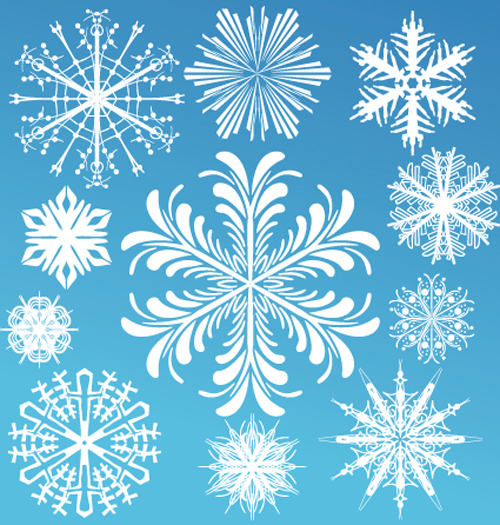 Different Snowflake elements vector graphics 02