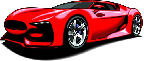 Colored Sport Car elements vector material 03