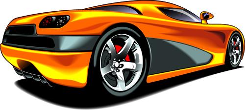 Colored Sport Car elements vector material 04