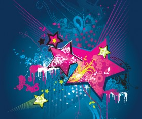 Colorful Stars Background art vector 02