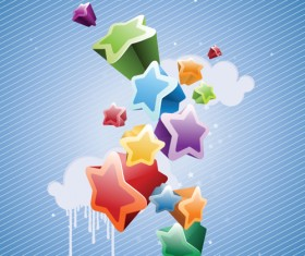Colorful Stars Background art vector 03