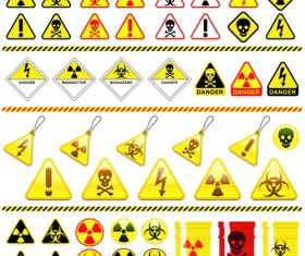 Set of Danger radiation Symbols and icons vector 01