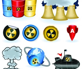 Set of Danger radiation Symbols and icons vector 02