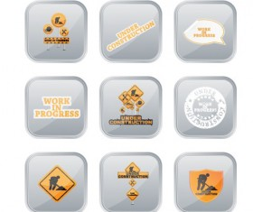 Different Under Construction icon vector set 01