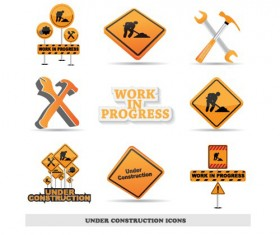 Different Under Construction icon vector set 02