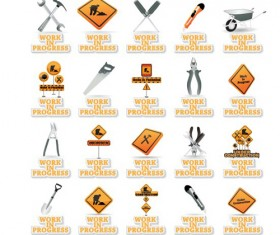 Different Under Construction icon vector set 04