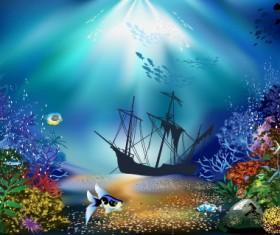 Pretty Underwater World element vector 01