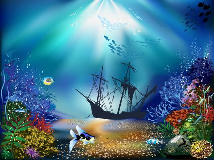 Underwater World Element Vector 01 Scenery Free Download