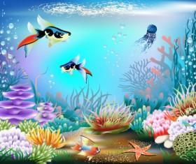 Pretty Underwater World element vector 02