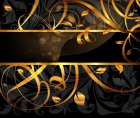 Set of Vintage Dark Golden Cards elements vector 01