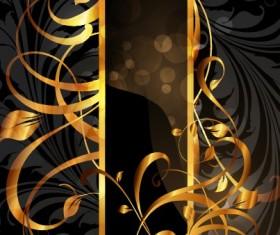Set of Vintage Dark Golden Cards elements vector 03